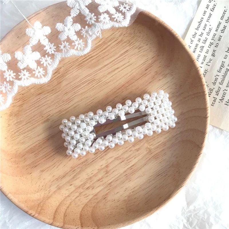 Women Fashion Pearl Hair Clip Snap Barrette Stick Hairpin Hair Accessories Gifts